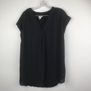 Ava Viv Blouse SZ 1XL solid Black NWOT Soft Light